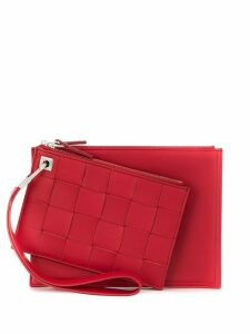 Bottega Veneta double zip pouch - Red