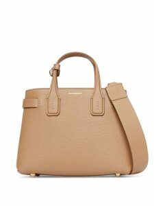 Burberry The Small Banner in Leather and Vintage Check - Brown