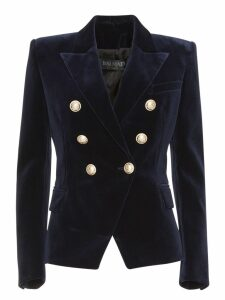 Balmain Double-breasted Blazer In Blue