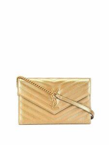 Saint Laurent Eyewear monogram logo cross-body bag - Gold