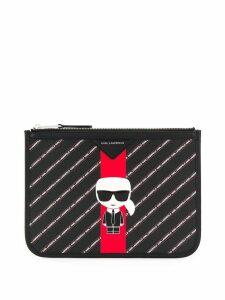 Karl Lagerfeld striped Ikonik clutch - Black