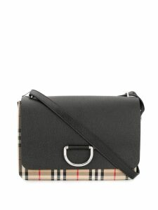Burberry Medium Vintage Check and Leather D-ring Bag - Black