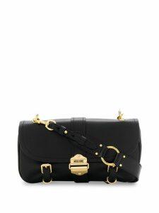 Moschino logo plaque shoulder bag - Black