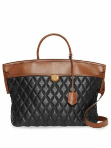 Burberry Quilted Lambskin Society Top Handle Bag - Black