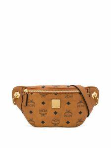 MCM repeat logo belt bag - Brown