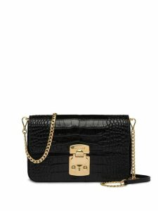 Miu Miu crocodile effect shoulder bag - Black