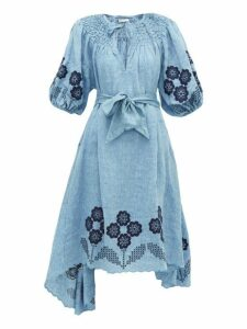 Innika Choo - Hugh Jesmock Linen Chambray Midi Dress - Womens - Denim