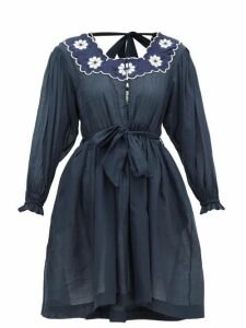 Innika Choo - Don B. Baad Embroidered Ramie Mini Dress - Womens - Navy