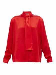 Balenciaga - Pussy Bow Silk Satin Blouse - Womens - Red