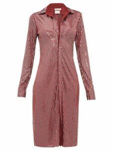 Bottega Veneta - Mirror Embellished Satin Jersey Shirtdress - Womens - Burgundy