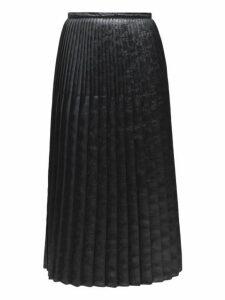 Marni - Pleated Floral Embossed Faux Leather Midi Skirt - Womens - Black
