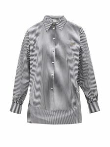 Hillier Bartley - Logo Embroidered Striped Cotton Poplin Shirt - Womens - Black White