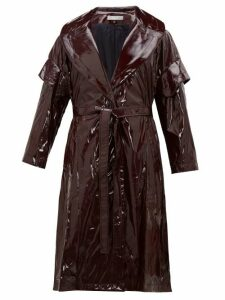 Palmer//harding - Single Breasted Pvc Coat - Womens - Burgundy
