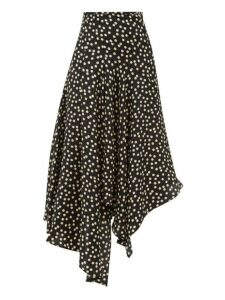 Petar Petrov - Rai Polka-dot Asymmetric Silk Skirt - Womens - Black White