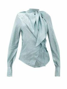 Petar Petrov - Betsey Tie Neck Silk Blend Lamé Blouse - Womens - Blue