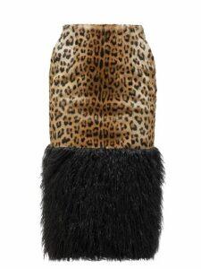 Saint Laurent - Leopard Print Goat Hair Skirt - Womens - Leopard