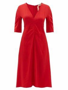 No. 21 - Gathered Crepe De Chine Midi Dress - Womens - Red