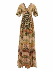 Etro - West Midlands Floral Print Silk Gown - Womens - Yellow Multi