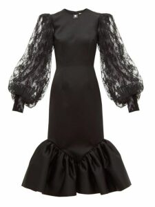 Christopher Kane - Cupcake Lace Sleeve Satin Midi Dress - Womens - Black