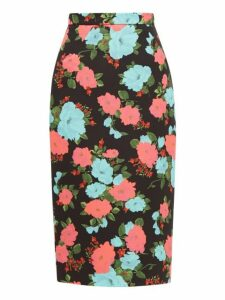 Erdem - Denica Floral Print Scuba Twill Pencil Skirt - Womens - Black Multi