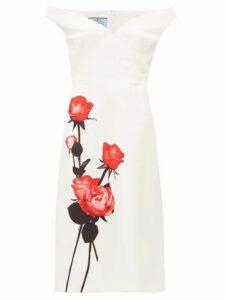 Prada - Rose Print Sweetheart Neckline Cotton Dress - Womens - White Print