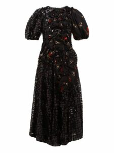 Simone Rocha - Sequinned Floral Print Crepe Midi Dress - Womens - Black Multi