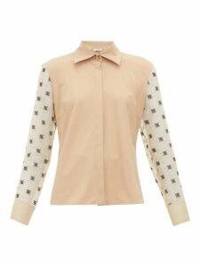 Fendi - Logo Embroidered Organza Sleeve Shirt - Womens - Beige