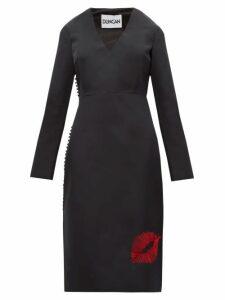 Duncan - Lip Embroidered Silk Faille Dress - Womens - Black