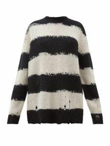 Acne Studios - Kantonia Distressed Stripe Knitted Sweater - Womens - Black Grey