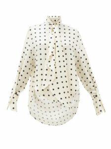 Petar Petrov - Beverly Polka Dot Print Silk Twill Blouse - Womens - White Black