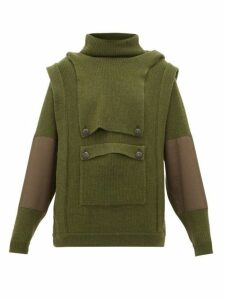 Stella Mccartney - Hooded Cargo Pocket Wool Sweater - Womens - Khaki