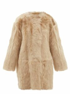 No. 21 - Oversized Shearling Coat - Womens - Beige