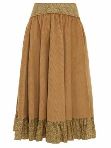 Batsheva - Ruffled Cotton Corduroy Midi Skirt - Womens - Brown