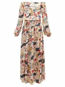 Adriana Iglesias - Creek Floral Print Silk Satin Dress - Womens - Nude Multi
