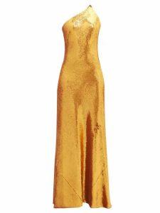 Galvan - Roxy Sequinned One-shoulder Gown - Womens - Bronze