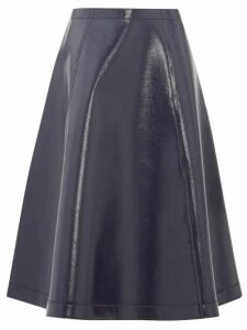 Sara Lanzi - Coated Wool Blend A Line Skirt - Womens - Navy