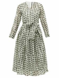Sara Lanzi - Houndstooth Print Cotton Blend Midi Dress - Womens - Black White