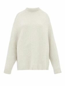 Raey - Crew Neck Basket Weave Wool Sweater - Womens - Ivory