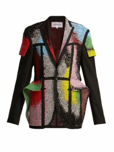 Germanier - Bead And Crystal Embellished Blazer - Womens - Black Multi