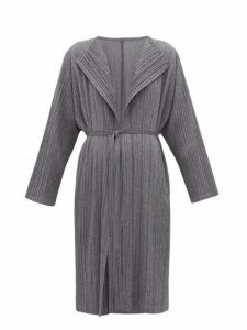 Pleats Please Issey Miyake - Plissé Belted Coat - Womens - Grey