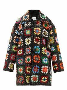Ashish - Sequinned Patchwork Crochet Blanket Coat - Womens - Multi