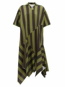 Marques'almeida - Asymmetric Hem Striped Cotton Midi Dress - Womens - Khaki
