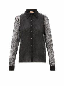 No. 21 - Lace And Silk Organza Blouse - Womens - Black