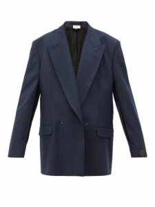 Vetements - Slit Sleeve Double Breasted Check Wool Blazer - Womens - Navy