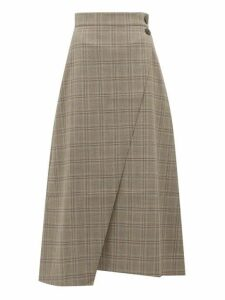 Cefinn - High-rise Prince Of Wales-check Midi Skirt - Womens - Brown Multi