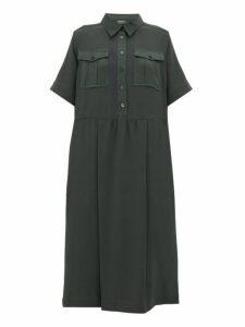Rochas - Satin Trim Crepe Midi Shirtdress - Womens - Green