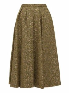 Rochas - Cloqué Brocade Midi Skirt - Womens - Green Multi