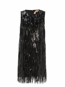 No. 21 - Sequin Tassel Satin Shift Dress - Womens - Black