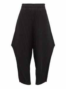 Pleats Please Issey Miyake - Structured Pleated Trousers - Womens - Black