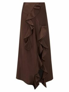 Ellery - Salero Ruffled Satin Skirt - Womens - Dark Brown
